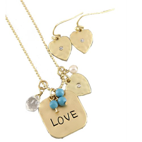 Fashion Necklace and Earring Set with Matte Gold Plated Necklace With Love