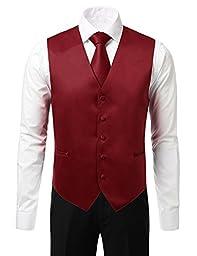 IDARBI Men\'s 4 Piece Set Dress Vest with Bowtie, Necktie, and Handkerchief BURGUNDYBLACK S