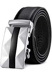 Squeple Men's Automatic Buckle Second Layer Leather Belt 3.5CM Width Black