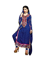 Amyra Women's Brasso Dress Material (AC752-02, Blue)