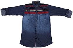 Accurate Boys' Cotton Shirt (SH 152, Blue, 8)
