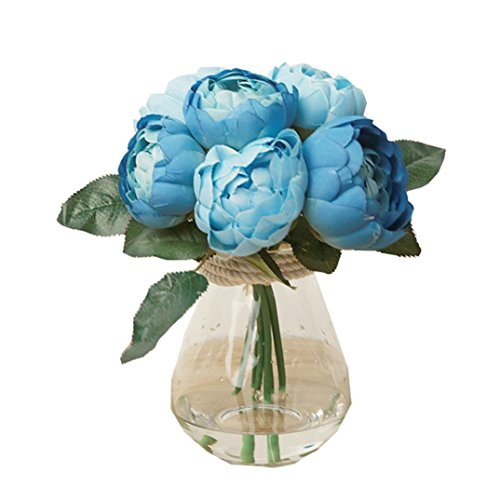 Mandy 1 pcs 6 Heads Artificial Peony Silk Flower Leaf Home Decor (Blue)