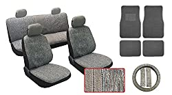 See Buick Ultimate Auto Interior Gift Set Gray Saddle Blanket Design 18 Pieces Includes Front Seat Covers Front Headrest Covers Rear Bench Seat Cover Steering Wheel Cover Seat Belt Shoulder Pads 4pc Floor Mats All Premium Quality Details