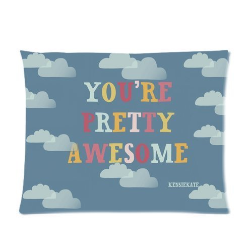 "Butuku Cute White Cloud And Colorful Quote "" You'Er Pretty Awesome "" Bule Custom Soft Pillow Case Cover 20X26 (One Side) front-813847"
