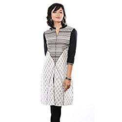Saamarth Impex White And Black Color Printed Collar Neck Reversible Style Cotton kurti SI-2067