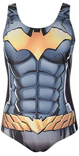 Ladies Printed Padded Bra Cups Swimsuit Swimwear - Batgirl or other designs available - Three Sizes 10, 12, 14