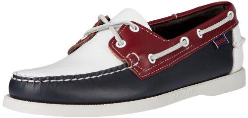 Sebago Spinnaker Leather Scarpe da barca, Uomo, Multicolore (Navy/White/Red), 43 1/2