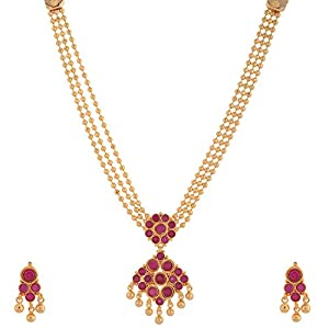 Buy 1 gram gold plated south indian traditional necklace set with ruby