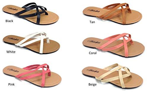 bb3bc0022 Girls Club Alva Flip Flops Criss Cross Strappy Summer Sandal Flat Double  Thong Straps