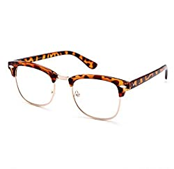 Magjons Anti Glare Lens Brown Unisex Clubmaster Eyewear Frame