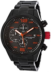 red line Men's RL-50042-BB-11OR Stealth Chronograph Black Textured Dial Black Ion-Plated Stainless Steel Watch