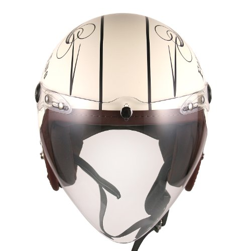 (F4 Jet-include Shield) Motorcycle Scooter Open Face 3/4 Three Quarter Jet Helmet Vintage Retro Style Helmets (White (Two Wheel Decal)) 3