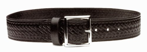 POLICE FIRE EMT EMS SECURITY BLACK LEATHER UNIFORM DUTY GARRISON BELT BASKETWEAVE STYLE, MADE IN USA, SIZE 42""