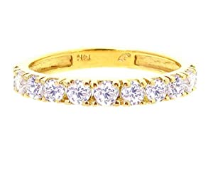 14K Yellow Gold Comfy Half Way 'round Stackable Gemstone Band Ring-Diamond, size8