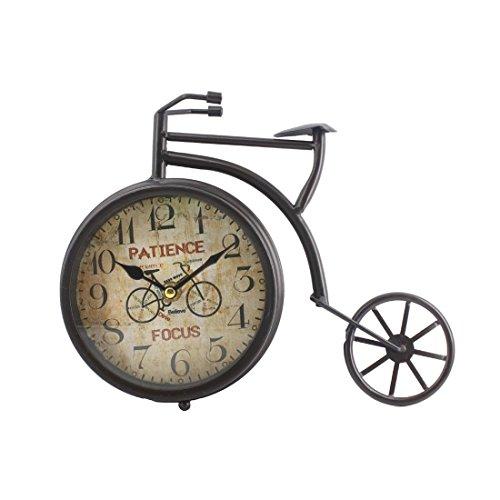 """Handcrafted Bike/Bicycle Analog Desk Clock,11""""x8.6"""",vintage Rustic Look (Black) 0"""
