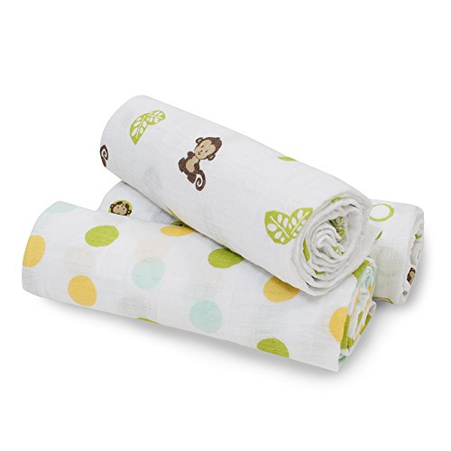 Bedtime Originals Curly Tails Swaddle Blankets, 3 Count