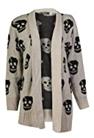 Forever Women's Skull Print Knitted Open Cardigan (ML-10/12, Stone)