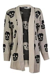 Forever Women's Skull Print Knitted Open Cardigan (SM-6/8, Stone)