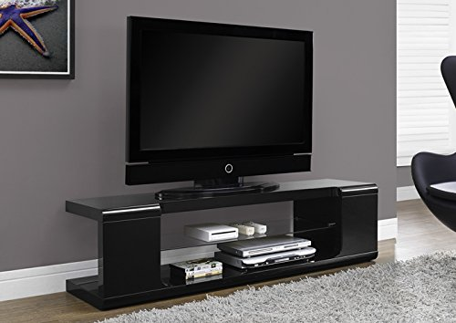 "HIGH GLOSSY BLACK 60""L TV CONSOLE WITH TEMPERED GLASS (SIZE: 59L X 16W X 16H)"