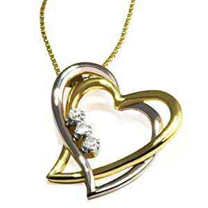 Goldmaid Damen-Collier Herzen 585 Bicolor 3 Diamanten 0,03ct He C08GW