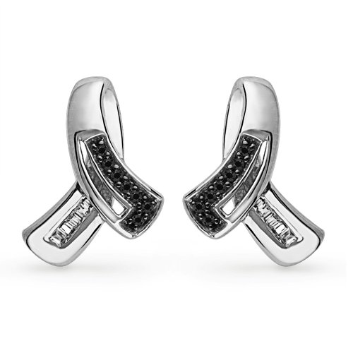 Platinum Plated Sterling Silver Black & White Baguette & Round Diamond Fashion Earring (0.12 CTTW)