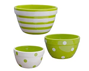 Terramoto Ceramic 3-Piece Polka Dots and Stripes Prep Bowl Set, Moss Green