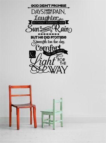 Decal - Vinyl Wall Sticker : God Didn'T Promise Days Without Pain, Laughter Without Sorrow, Nor Sun Without Rain But He Did Promise Strenght For The Day, Comfort For The Tears And Light For The Way Quote Home Living Room Bedroom Decor - Discounted Sale It front-466798
