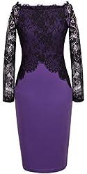 Homeyee® Women's Elegant Celeb Pinup Lace Tunic Bodycon Evening Party Dress U803