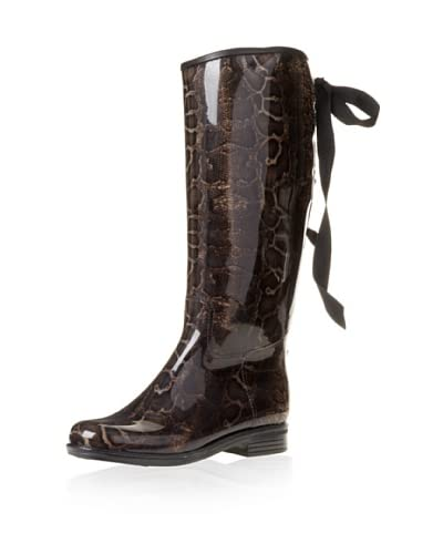 däv Women's Victoria Snake Rain Boot  - Brown