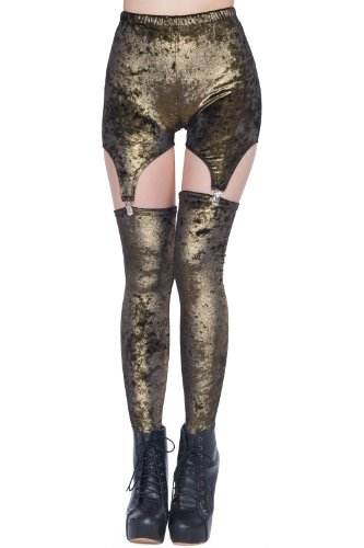 Romwe Women'S Dual-Tone Style Buckle Velvet Leggings-Dark Golden-M front-969216