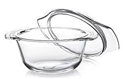 Cello Angelica Round Glass Casserole with Lid, 1 Litre/20.7cm, Clear
