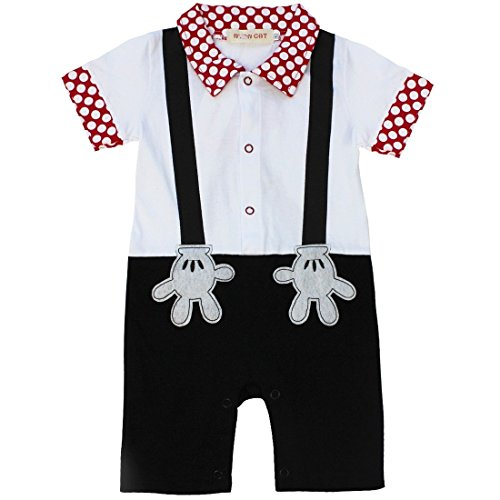 FEESHOW Baby Boys' One Piece Short Sleeve Romper Summer Outfits Black 12 Months-18