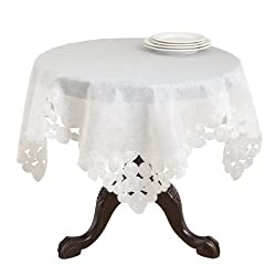 SARO LIFESTYLE 78240 Felicity Square Tablecloth, 36-Inch, Off-white