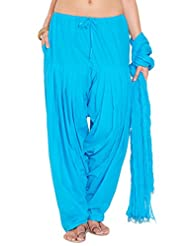Stylenmart Ladies Sky Blue Cotton Regular Fit With Dupatta Dupatta Patiala Set