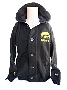 NCAA Iowa Hawkeyes Mens Button Hoodie Sweatshirt, Yellow Black by Donegal Bay