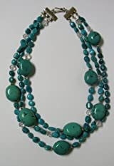 Three Strand Turquoise Necklace with Swarvoski Crystals