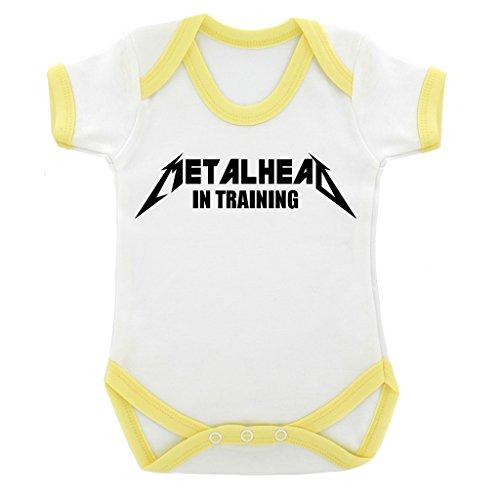 Funny Metalhead in formazione con Design Body per neonato, con cuciture a contrasto, colore: giallo e Nero giallo 6-12 mesi