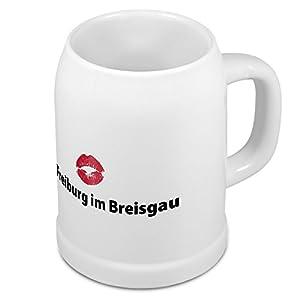 Bierkrug mit Stadtnamen Freiburg im Breisgau - Design Kussmund - Städte-Tasse, Becher, Maßkrug