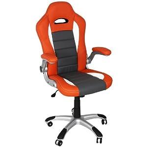 Premium Sportsitz Chefsessel Bürostuhl Racer orange/grau/weiss 801