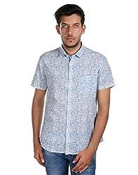 Oxemberg Men's Printed100% Cotton Blue Shirt