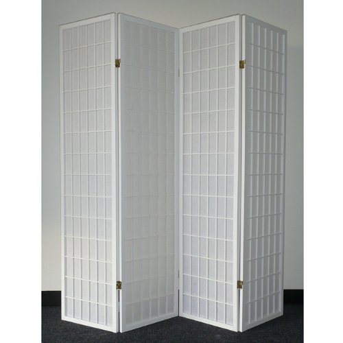 4-Panel White Wood Shoji Screen / Room Divider front-912533