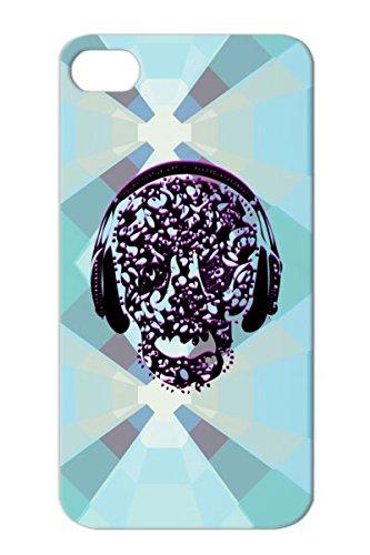 Music Rock Metal Cool Vin Abstract Vintage Rocker Skull Listening To Music Design Rocking On Headphones Conceptual Purple Protective Hard Case For Iphone 4/4S Anti-Shock Vintage Skull Listening