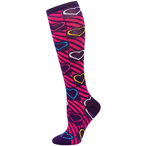 So Graphic Women's Metallic Patterned Knee Socks - 1 Pair - Purple Hearts