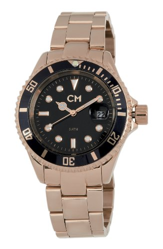 Carlo Monti Varese Men's Quartz Watch with Black Dial Analogue Display and Rose Gold Stainless Steel Plated Bracelet CM507-328
