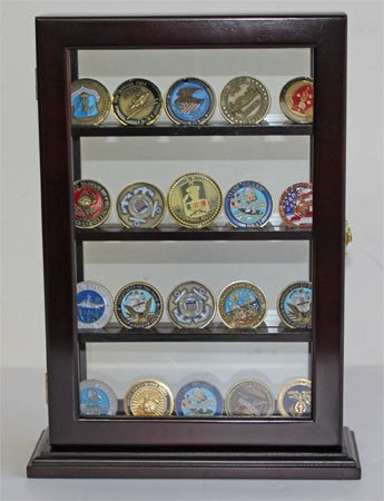 Military-Challenge-Coin-Display-Case-Counter-Top-Holder-Stand-Shadow-Box-Glass-door-Mahogany-Finish-COIN14-MA