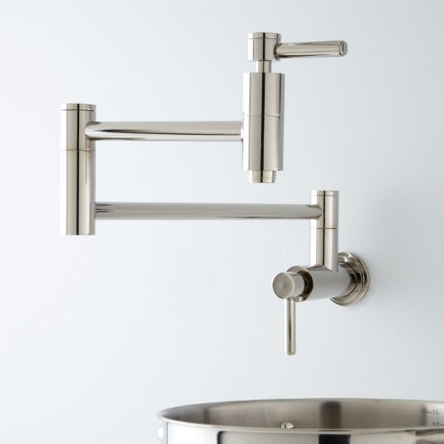 Read About 21 Pot Filler, Wall Mount, Modern, Retractable, Double Joint Spout, Polished Chrome