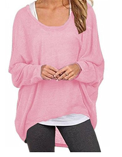 Herebuy8 Women's Casual Oversized Baggy Summer Tunic Shirt Loose Pullover Top Blouse (M, Pink)