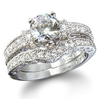 Tori's Vintage Style Replica Engagement Ring Set - 10