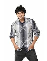 Mens Shirt -Full Sleeves Shirt -Checks Cotton Shirt -Black Color - By Zorro