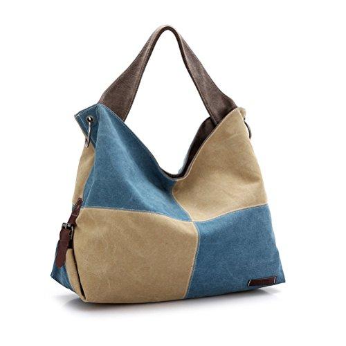 Umily Borsa tote da donna a mano di tela da viaggio casual Shopper-Blu